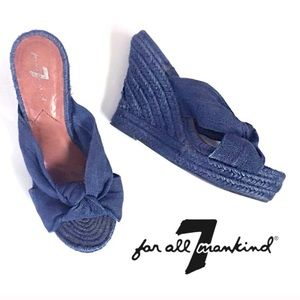 7 For All Mankind Espadrille Wedges Blue Size 6.5